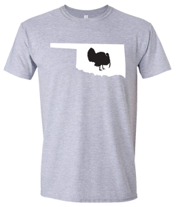 Short Sleeve T-Shirt Oklahoma Athletic Heather Turkey Vibrant Design High Quality Tight Knit Ring Spun Low Maintenance Cotton Printed With The Newest Available Color Transfer Technology