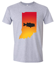 Load image into Gallery viewer, Short Sleeve T-Shirt Indiana Athletic Heather Large Mouth Bass Vibrant Design High Quality Tight Knit Ring Spun Low Maintenance Cotton Printed With The Newest Available Color Transfer Technology