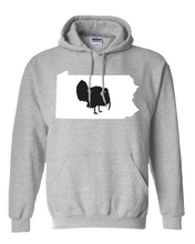 Load image into Gallery viewer, Pullover Hooded Sweatshirt Pennsylvania Athletic Heather Turkey Vibrant Design High Quality Tight Knit Ring Spun Low Maintenance Cotton Printed With The Newest Available Color Transfer Technology