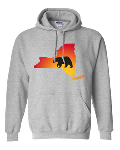 Pullover Hooded Sweatshirt New York Athletic Heather Black Bear Vibrant Design High Quality Tight Knit Ring Spun Low Maintenance Cotton Printed With The Newest Available Color Transfer Technology