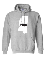 Load image into Gallery viewer, Pullover Hooded Sweatshirt Mississippi Athletic Heather Large Mouth Bass Vibrant Design High Quality Tight Knit Ring Spun Low Maintenance Cotton Printed With The Newest Available Color Transfer Technology