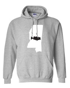 Pullover Hooded Sweatshirt Mississippi Athletic Heather Large Mouth Bass Vibrant Design High Quality Tight Knit Ring Spun Low Maintenance Cotton Printed With The Newest Available Color Transfer Technology