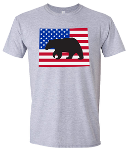 Short Sleeve T-Shirt Wyoming Athletic Heather Black Bear Vibrant Design High Quality Tight Knit Ring Spun Low Maintenance Cotton Printed With The Newest Available Color Transfer Technology
