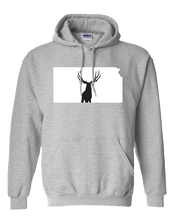 Load image into Gallery viewer, Pullover Hooded Sweatshirt Kansas Athletic Heather Mule Deer Vibrant Design High Quality Tight Knit Ring Spun Low Maintenance Cotton Printed With The Newest Available Color Transfer Technology
