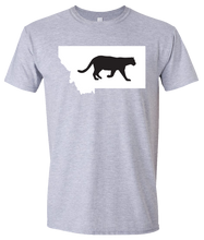 Load image into Gallery viewer, Short Sleeve T-Shirt Montana Athletic Heather Mountain Lion Vibrant Design High Quality Tight Knit Ring Spun Low Maintenance Cotton Printed With The Newest Available Color Transfer Technology