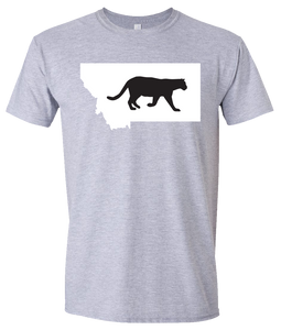Short Sleeve T-Shirt Montana Athletic Heather Mountain Lion Vibrant Design High Quality Tight Knit Ring Spun Low Maintenance Cotton Printed With The Newest Available Color Transfer Technology