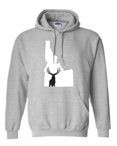 Pullover Hooded Sweatshirt Idaho Athletic Heather Mule Deer Vibrant Design High Quality Tight Knit Ring Spun Low Maintenance Cotton Printed With The Newest Available Color Transfer Technology