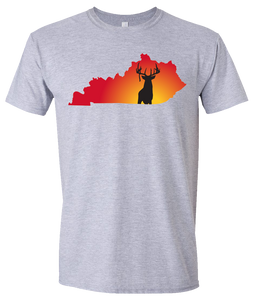 Short Sleeve T-Shirt Kentucky Athletic Heather Whitetail Deer Vibrant Design High Quality Tight Knit Ring Spun Low Maintenance Cotton Printed With The Newest Available Color Transfer Technology