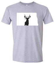 Load image into Gallery viewer, Short Sleeve T-Shirt North Dakota Athletic Heather Whitetail Deer Vibrant Design High Quality Tight Knit Ring Spun Low Maintenance Cotton Printed With The Newest Available Color Transfer Technology