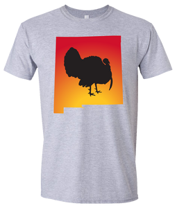 Short Sleeve T-Shirt New Mexico Athletic Heather Turkey Vibrant Design High Quality Tight Knit Ring Spun Low Maintenance Cotton Printed With The Newest Available Color Transfer Technology