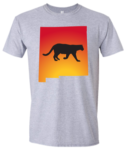 Short Sleeve T-Shirt New Mexico Athletic Heather Mountain Lion Vibrant Design High Quality Tight Knit Ring Spun Low Maintenance Cotton Printed With The Newest Available Color Transfer Technology