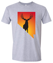 Load image into Gallery viewer, Short Sleeve T-Shirt Nevada Athletic Heather Mule Deer Vibrant Design High Quality Tight Knit Ring Spun Low Maintenance Cotton Printed With The Newest Available Color Transfer Technology