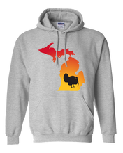 Load image into Gallery viewer, Pullover Hooded Sweatshirt Michigan Athletic Heather Turkey Vibrant Design High Quality Tight Knit Ring Spun Low Maintenance Cotton Printed With The Newest Available Color Transfer Technology