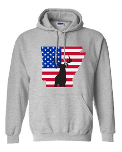 Pullover Hooded Sweatshirt Arkansas Athletic Heather Whitetail Deer Vibrant Design High Quality Tight Knit Ring Spun Low Maintenance Cotton Printed With The Newest Available Color Transfer Technology