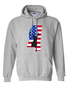Pullover Hooded Sweatshirt Mississippi Athletic Heather Whitetail Deer Vibrant Design High Quality Tight Knit Ring Spun Low Maintenance Cotton Printed With The Newest Available Color Transfer Technology