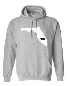 Pullover Hooded Sweatshirt Florida Athletic Heather Large Mouth Bass Vibrant Design High Quality Tight Knit Ring Spun Low Maintenance Cotton Printed With The Newest Available Color Transfer Technology
