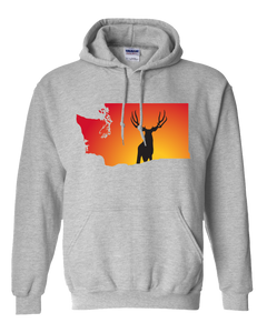 Pullover Hooded Sweatshirt Washington Athletic Heather Mule Deer Vibrant Design High Quality Tight Knit Ring Spun Low Maintenance Cotton Printed With The Newest Available Color Transfer Technology