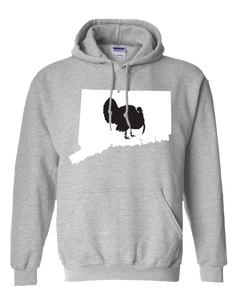 Pullover Hooded Sweatshirt Connecticut Athletic Heather Turkey Vibrant Design High Quality Tight Knit Ring Spun Low Maintenance Cotton Printed With The Newest Available Color Transfer Technology