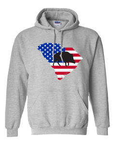 Pullover Hooded Sweatshirt South Carolina Athletic Heather Wild Hog Vibrant Design High Quality Tight Knit Ring Spun Low Maintenance Cotton Printed With The Newest Available Color Transfer Technology