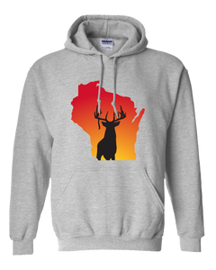 Pullover Hooded Sweatshirt Wisconsin Athletic Heather Whitetail Deer Vibrant Design High Quality Tight Knit Ring Spun Low Maintenance Cotton Printed With The Newest Available Color Transfer Technology