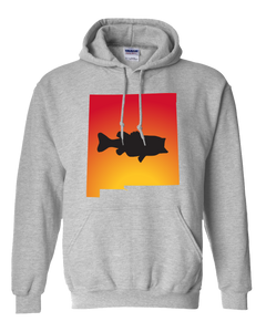 Pullover Hooded Sweatshirt New Mexico Athletic Heather Large Mouth Bass Vibrant Design High Quality Tight Knit Ring Spun Low Maintenance Cotton Printed With The Newest Available Color Transfer Technology