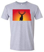 Load image into Gallery viewer, Short Sleeve T-Shirt North Dakota Athletic Heather Mule Deer Vibrant Design High Quality Tight Knit Ring Spun Low Maintenance Cotton Printed With The Newest Available Color Transfer Technology