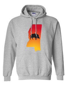 Pullover Hooded Sweatshirt Mississippi Athletic Heather Wild Hog Vibrant Design High Quality Tight Knit Ring Spun Low Maintenance Cotton Printed With The Newest Available Color Transfer Technology