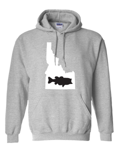 Pullover Hooded Sweatshirt Idaho Athletic Heather Large Mouth Bass Vibrant Design High Quality Tight Knit Ring Spun Low Maintenance Cotton Printed With The Newest Available Color Transfer Technology