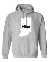 Load image into Gallery viewer, Pullover Hooded Sweatshirt Indiana Athletic Heather Large Mouth Bass Vibrant Design High Quality Tight Knit Ring Spun Low Maintenance Cotton Printed With The Newest Available Color Transfer Technology