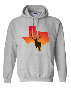 Pullover Hooded Sweatshirt Texas Athletic Heather Elk Vibrant Design High Quality Tight Knit Ring Spun Low Maintenance Cotton Printed With The Newest Available Color Transfer Technology