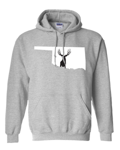 Pullover Hooded Sweatshirt Oklahoma Athletic Heather Mule Deer Vibrant Design High Quality Tight Knit Ring Spun Low Maintenance Cotton Printed With The Newest Available Color Transfer Technology
