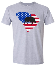 Load image into Gallery viewer, Short Sleeve T-Shirt South Carolina Athletic Heather Wild Hog Vibrant Design High Quality Tight Knit Ring Spun Low Maintenance Cotton Printed With The Newest Available Color Transfer Technology
