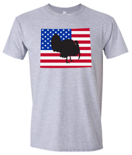 Load image into Gallery viewer, Short Sleeve T-Shirt Wyoming Athletic Heather Turkey Vibrant Design High Quality Tight Knit Ring Spun Low Maintenance Cotton Printed With The Newest Available Color Transfer Technology