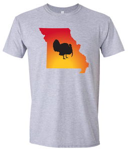 Short Sleeve T-Shirt Missouri Athletic Heather Turkey Vibrant Design High Quality Tight Knit Ring Spun Low Maintenance Cotton Printed With The Newest Available Color Transfer Technology