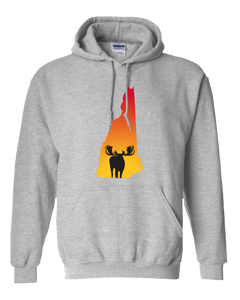 Pullover Hooded Sweatshirt New Hampshire Athletic Heather Moose Vibrant Design High Quality Tight Knit Ring Spun Low Maintenance Cotton Printed With The Newest Available Color Transfer Technology