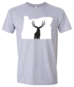 Short Sleeve T-Shirt Oregon Athletic Heather Mule Deer Vibrant Design High Quality Tight Knit Ring Spun Low Maintenance Cotton Printed With The Newest Available Color Transfer Technology