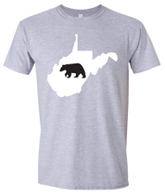 Load image into Gallery viewer, Short Sleeve T-Shirt West Virginia Athletic Heather Black Bear Vibrant Design High Quality Tight Knit Ring Spun Low Maintenance Cotton Printed With The Newest Available Color Transfer Technology