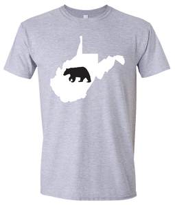 Short Sleeve T-Shirt West Virginia Athletic Heather Black Bear Vibrant Design High Quality Tight Knit Ring Spun Low Maintenance Cotton Printed With The Newest Available Color Transfer Technology
