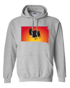 Pullover Hooded Sweatshirt South Dakota Athletic Heather Turkey Vibrant Design High Quality Tight Knit Ring Spun Low Maintenance Cotton Printed With The Newest Available Color Transfer Technology