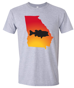Short Sleeve T-Shirt Georgia Athletic Heather Large Mouth Bass Vibrant Design High Quality Tight Knit Ring Spun Low Maintenance Cotton Printed With The Newest Available Color Transfer Technology