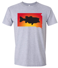 Load image into Gallery viewer, Short Sleeve T-Shirt South Dakota Athletic Heather Large Mouth Bass Vibrant Design High Quality Tight Knit Ring Spun Low Maintenance Cotton Printed With The Newest Available Color Transfer Technology
