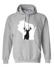 Load image into Gallery viewer, Pullover Hooded Sweatshirt Wisconsin Athletic Heather Whitetail Deer Vibrant Design High Quality Tight Knit Ring Spun Low Maintenance Cotton Printed With The Newest Available Color Transfer Technology