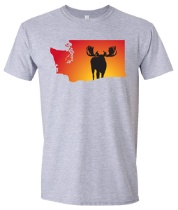 Short Sleeve T-Shirt Washington Athletic Heather Moose Vibrant Design High Quality Tight Knit Ring Spun Low Maintenance Cotton Printed With The Newest Available Color Transfer Technology