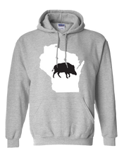 Load image into Gallery viewer, Pullover Hooded Sweatshirt Wisconsin Athletic Heather Wild Hog Vibrant Design High Quality Tight Knit Ring Spun Low Maintenance Cotton Printed With The Newest Available Color Transfer Technology