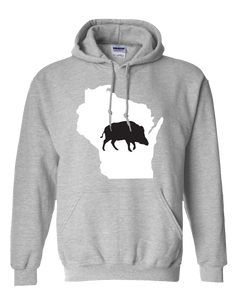 Pullover Hooded Sweatshirt Wisconsin Athletic Heather Wild Hog Vibrant Design High Quality Tight Knit Ring Spun Low Maintenance Cotton Printed With The Newest Available Color Transfer Technology