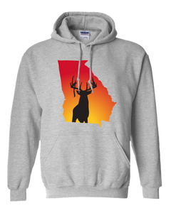 Pullover Hooded Sweatshirt Georgia Athletic Heather Whitetail Deer Vibrant Design High Quality Tight Knit Ring Spun Low Maintenance Cotton Printed With The Newest Available Color Transfer Technology