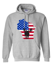 Load image into Gallery viewer, Pullover Hooded Sweatshirt Wisconsin Athletic Heather Moose Vibrant Design High Quality Tight Knit Ring Spun Low Maintenance Cotton Printed With The Newest Available Color Transfer Technology
