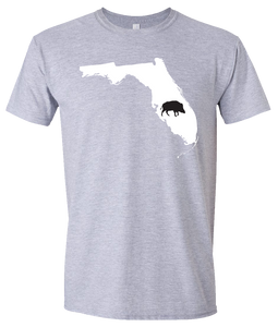 Short Sleeve T-Shirt Florida Athletic Heather Wild Hog Vibrant Design High Quality Tight Knit Ring Spun Low Maintenance Cotton Printed With The Newest Available Color Transfer Technology