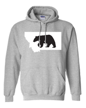 Load image into Gallery viewer, Pullover Hooded Sweatshirt Montana Athletic Heather Black Bear Vibrant Design High Quality Tight Knit Ring Spun Low Maintenance Cotton Printed With The Newest Available Color Transfer Technology