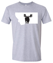 Load image into Gallery viewer, Short Sleeve T-Shirt Montana Athletic Heather Moose Vibrant Design High Quality Tight Knit Ring Spun Low Maintenance Cotton Printed With The Newest Available Color Transfer Technology